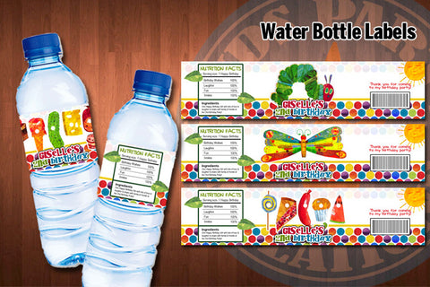 HUNGRY CATERPILLAR Water bottle labels - Printable and Personalized for Hungry Caterpillar birthday party