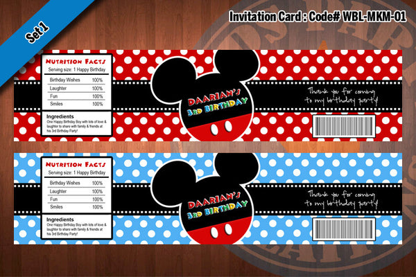 "MICKEY MOUSE  Set of 2 Water Bottle Labels - Mickey Ears and Mickey Mouse  ""Best Seller Special"" #1"