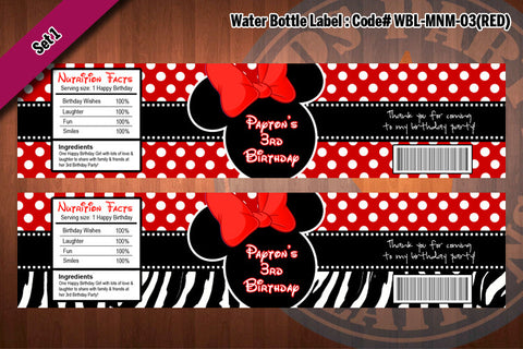 "MINNIE MOUSE Water Bottle Label - Polkadots water bottle wraps ""Favorite Design"" D#3 (Red)"