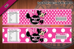 "MINNIE MOUSE Water Bottle Label - Polkadots water bottle wraps ""Favorite Design"" D#4 (Pink or Black)"