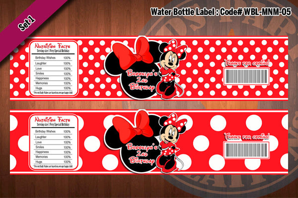 "MINNIE MOUSE Water Bottle Label - Polkadots water bottle wraps ""Favorite Design"" D#5 (Red or Black)"