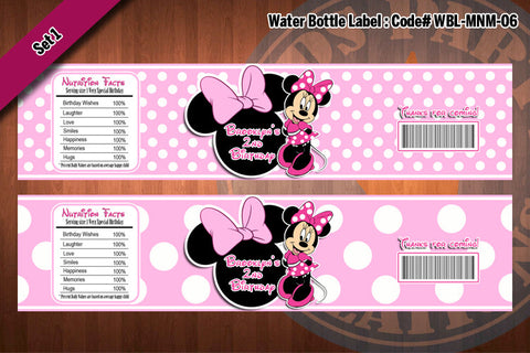 "MINNIE MOUSE Water Bottle Label - Polkadots water bottle wraps ""Favorite Design"" D#6 (Pink or Black)"