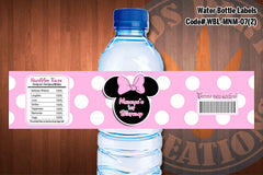 "MINNIE MOUSE Water Bottle Label - Polkadots water bottle wraps ""Favorite Design"" D#7 (Pink or Black)"