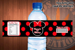 "MINNIE MOUSE Water Bottle Label - Polkadots water bottle wraps ""Favorite Design"" D#8 (Red or Black)"