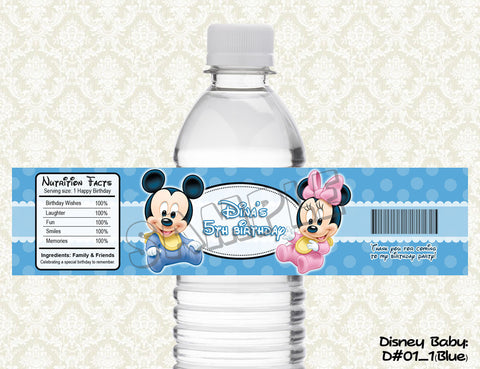 Disney Babies Water Bottle Label - Mickey Mouse, Minnie Mouse, Donald Duck, Daisy Duck, Goofy and Pluto (CHOOSE 1 design)