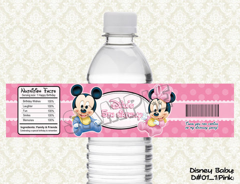 Disney Babies Water Bottle Label - Mickey Mouse, Minnie Mouse, Donald Duck, Daisy Duck, Goofy and Pluto (PINK)