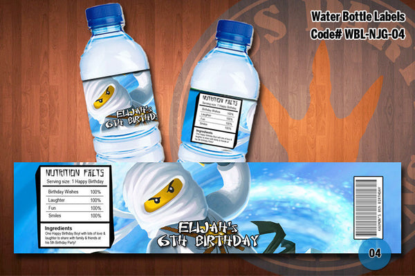Ninjago Water Bottle Label - (Zane)
