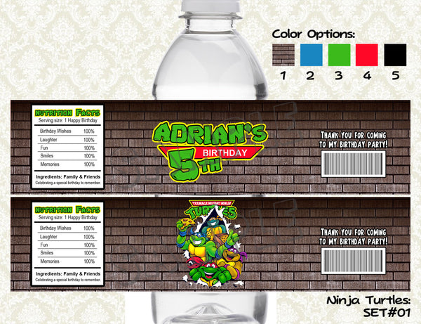 Ninja Turtles Water Bottle Labels - Printable & Personalized for TMNT Birthday Party
