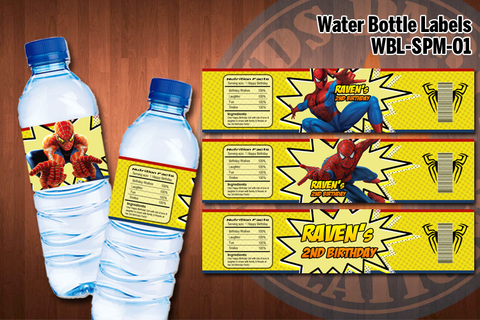 SPIDERMAN Water Bottle Labels - Printable for Spiderman Birthday Party (SET of 4) D#1