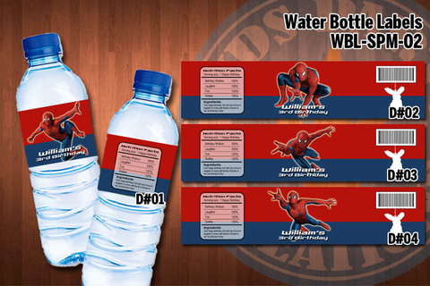 SPIDERMAN Water Bottle Labels - Printable for Spiderman Birthday Party (SET of 4) D#2