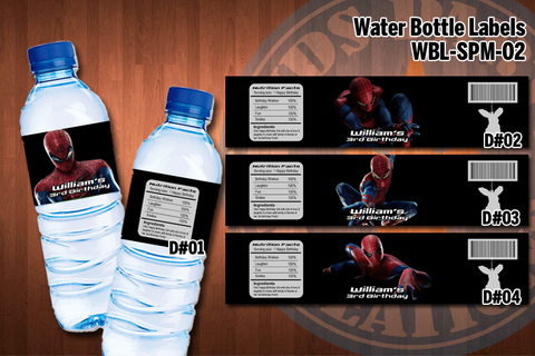 SPIDERMAN Water Bottle Labels - Printable for Spiderman Birthday Party (SET of 4) D#3