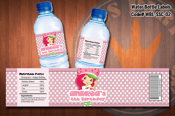 Personalized STRAWBERRY SHORTCAKE Water Bottle Labels for Strawberry Shortcake Birthday Party D#2