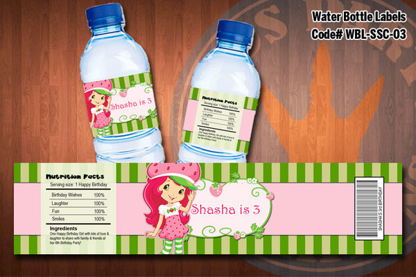 Personalized STRAWBERRY SHORTCAKE Water Bottle Labels for Strawberry Shortcake Birthday Party D#3