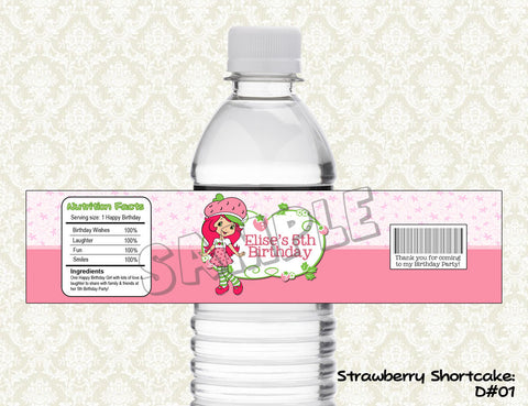 Strawberry Shortcake Water Bottle Label - Printable & Personalized for Strawberry Shortcake Birthday Party