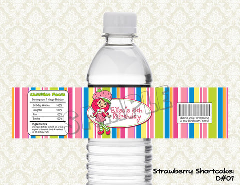 Strawberry Shortcake Water Bottle Label - Printable & Personalized for Strawberry Shortcake Birthday Party D#2