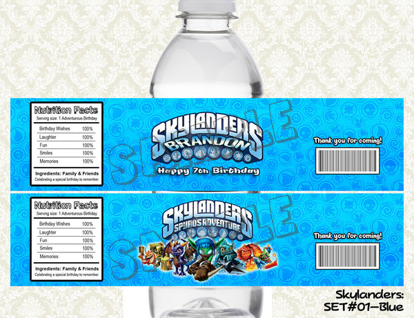 SKYLANDERS Water Bottle Labels
