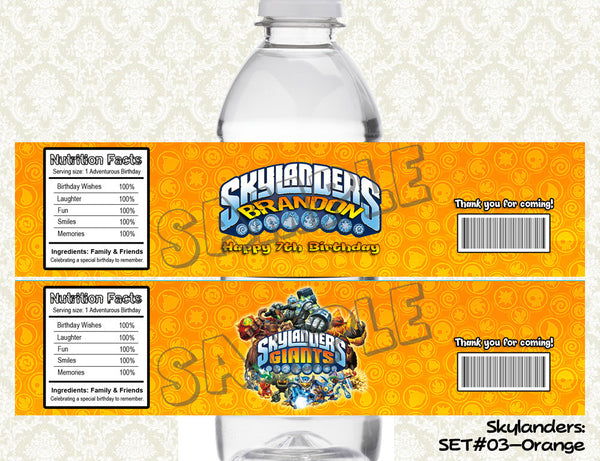 SKYLANDERS Water Bottle Labels - Bottle Wraps Printable & Personalized for SKYLANDERS Birthday Party D#2