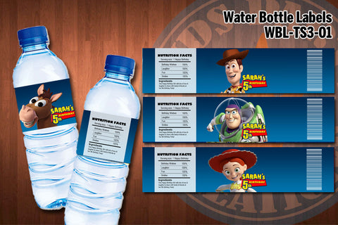 TOY STORY Water Bottle Labels - Printable and Personalized for Toy Story Birthday Party (SET of 4)