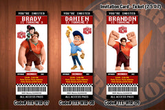 WRECK IT RALPH ticket Invitations, Wreck it Ralph invitation, birthday invitations (Favorite designs)