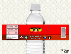 Ninjago Water Bottle label (All 4 Ninjas - Kai, Jay, Cole, Zane)