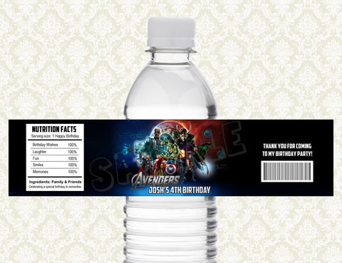 Avengers Water Bottle Label - Printable & Personalized for Avengers Birthday Party D#2