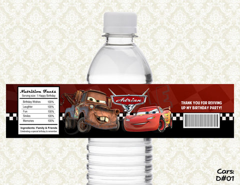 Cars Water Bottle Labels - Printable & Personalized for Cars Birthday Party