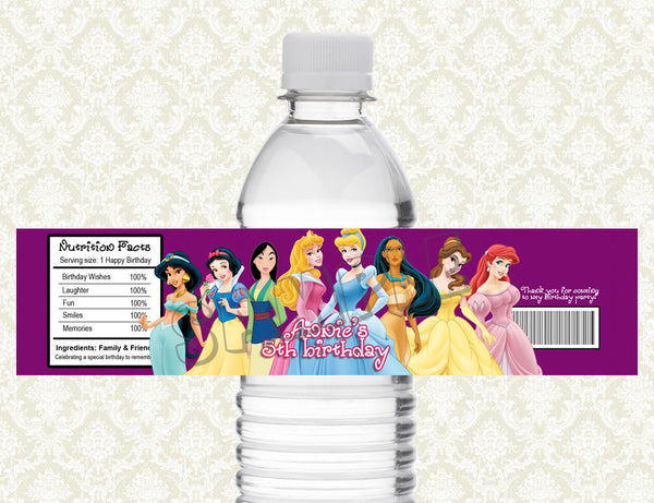 Disney Princess Water Bottle Label - Printable & Personalized for Princess Birthday Party D#1