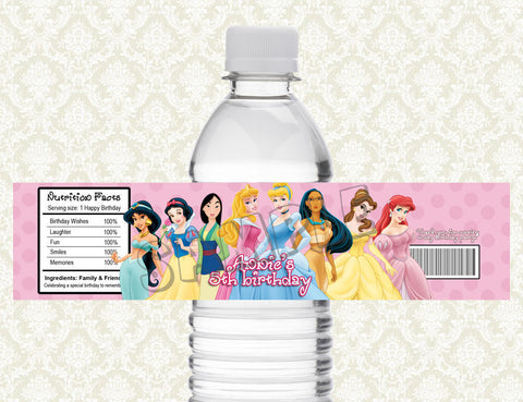 Disney Princess Water Bottle Label - Printable & Personalized for Princess Birthday Party D#2