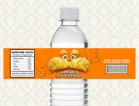 The Lorax Water Bottle Label - Printable & Personalized for The Lorax Birthday Party