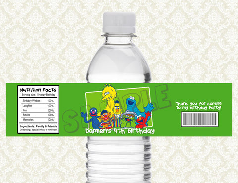 Elmo Water Bottle Label - Printable & Personalized for Sesame Street Birthday Party D#1