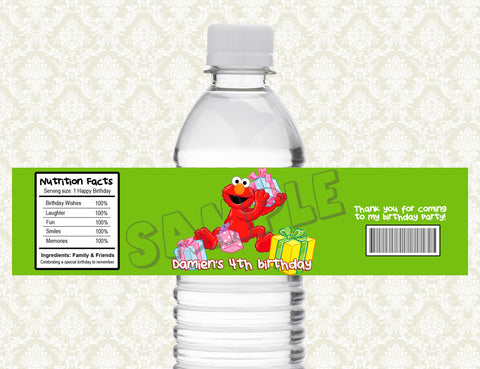 Elmo Water Bottle Label - Printable & Personalized for Sesame Street Birthday Party D#2