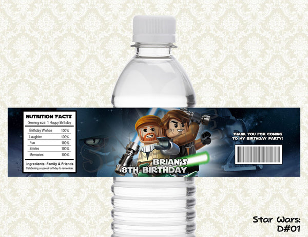 Star Wars Water Bottle Label - Printable & Personalized for Star Wars Birthday Party