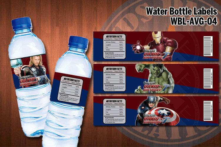 Avengers Water Bottle Labels Printable Amp Personalized
