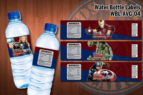 AVENGERS Water Bottle Labels - Printable & Personalized for Avengers Birthday Party (SET of 4)