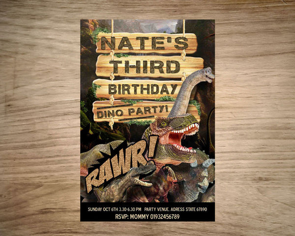 "DINOSAUR Invitation - Printable Invitation for Jurassic inspired and Dinosaur Birthday Party  (4""x6"" or 5""x7"")"