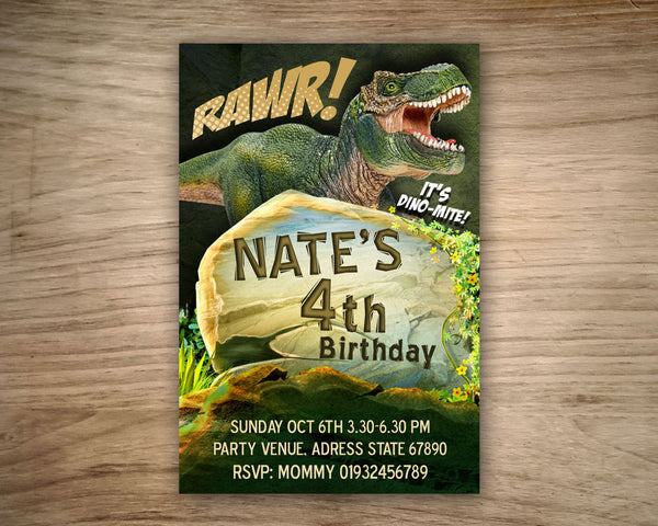 "Trex DINOSAUR birthday Invitation - Digital Invitation for Jurassic inspired and Dinosaur Birthday Party  (4""x6"" or 5""x7"")"