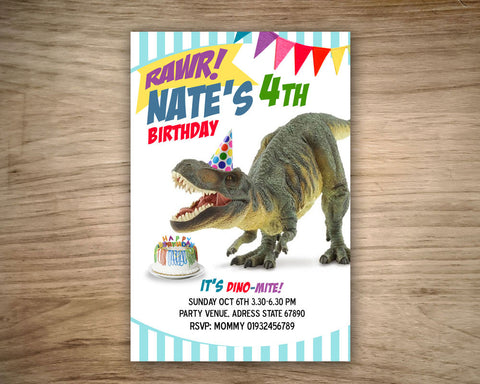 "Digital DINOSAUR Invitation - Printable Invitation for Jurassic inspired and Dinosaur Birthday Party  (4""x6"" or 5""x7"")"