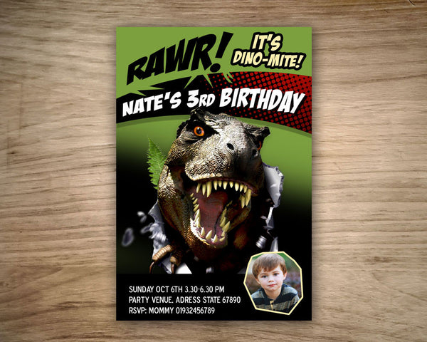 "Jurassic DINOSAUR Invitation - Printable Invitation for Dinosaur Birthday Party  (4""x6"" or 5""x7"")"