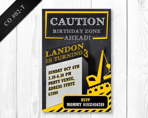 BOYS Construction Invitation - Birthday printable invite for boys construction party