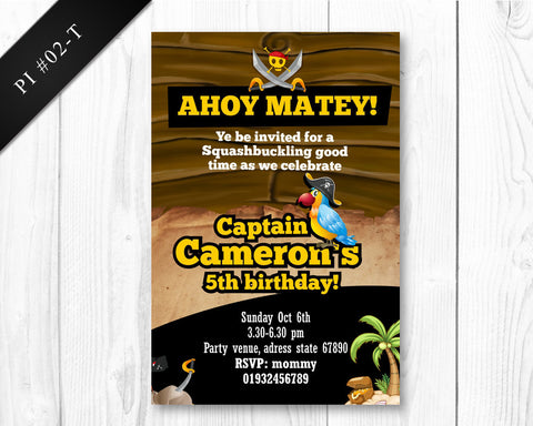 DIGITAL Pirate Invitation - Birthday printable invite for boys pirate party