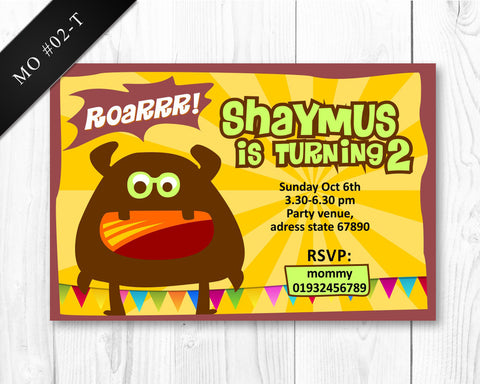 BOYS Monster Invitation - Birthday printable invite for boys monster party DIGITAL