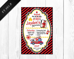 Firetruck Invitation - Birthday printable for boys firetruck party