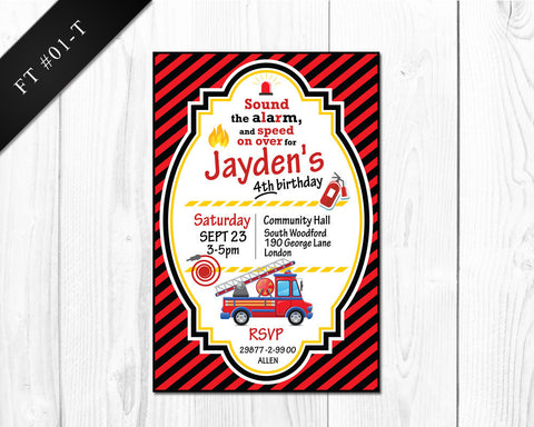 DIGITAL Firetruck Invitation - Birthday printable invite for boys firetruck party
