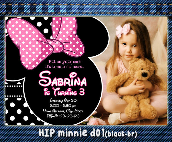 MINNIE Printable Birthday Invitations  (Choose 1 design) for Minnie Party