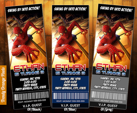 "Spiderman ticket Invitation - Printable Spiderman Birthday Printable Invitation (2.5"" x 7"")"