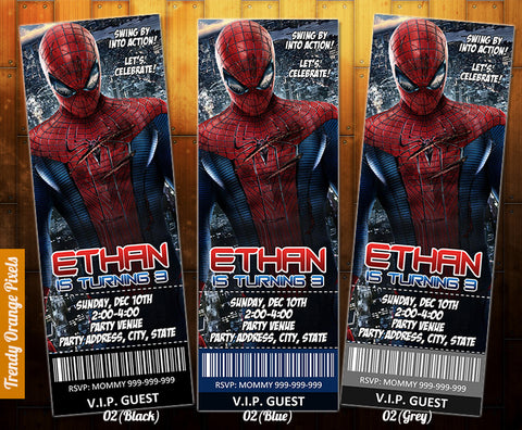 "Spiderman birthday ticket Invitation - Printable Spiderman Birthday Invitation (2.5"" x 7"")"