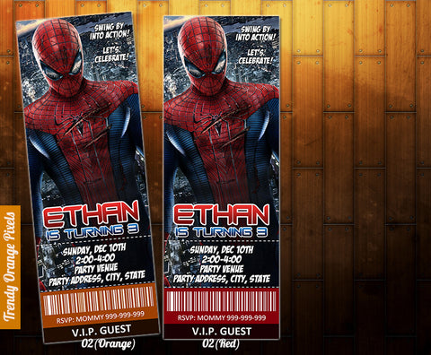 "Spiderman birthday Invitation - Spiderman Birthday Printable Ticket (2.5"" x 7"")"