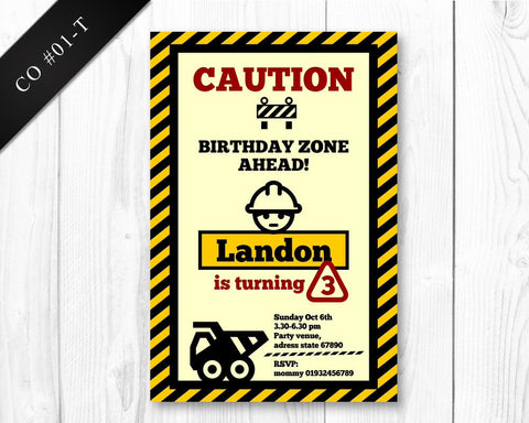 DIGITAL Construction Invitation - PRINTABLE Birthday invite for boys construction party