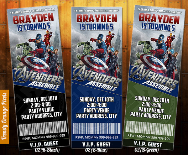 Avengers ticket Invitation, Avengers birthday invitation, Superhero printables