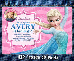 Frozen digital birthday Invitation, Elsa and Anna printable photo invite